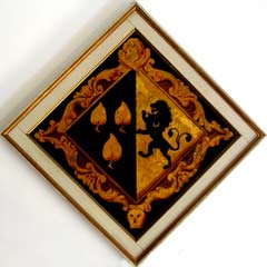 Funeral hatchment depicting the Leveson coat of arms